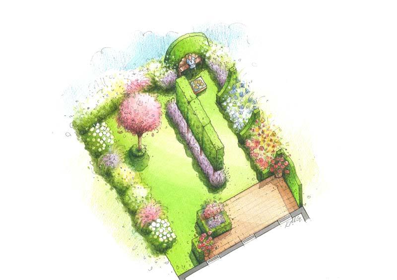 Aquarelle jardin fleuri anglais 3d paysagiste arbrecr ation for Creation jardin anglais